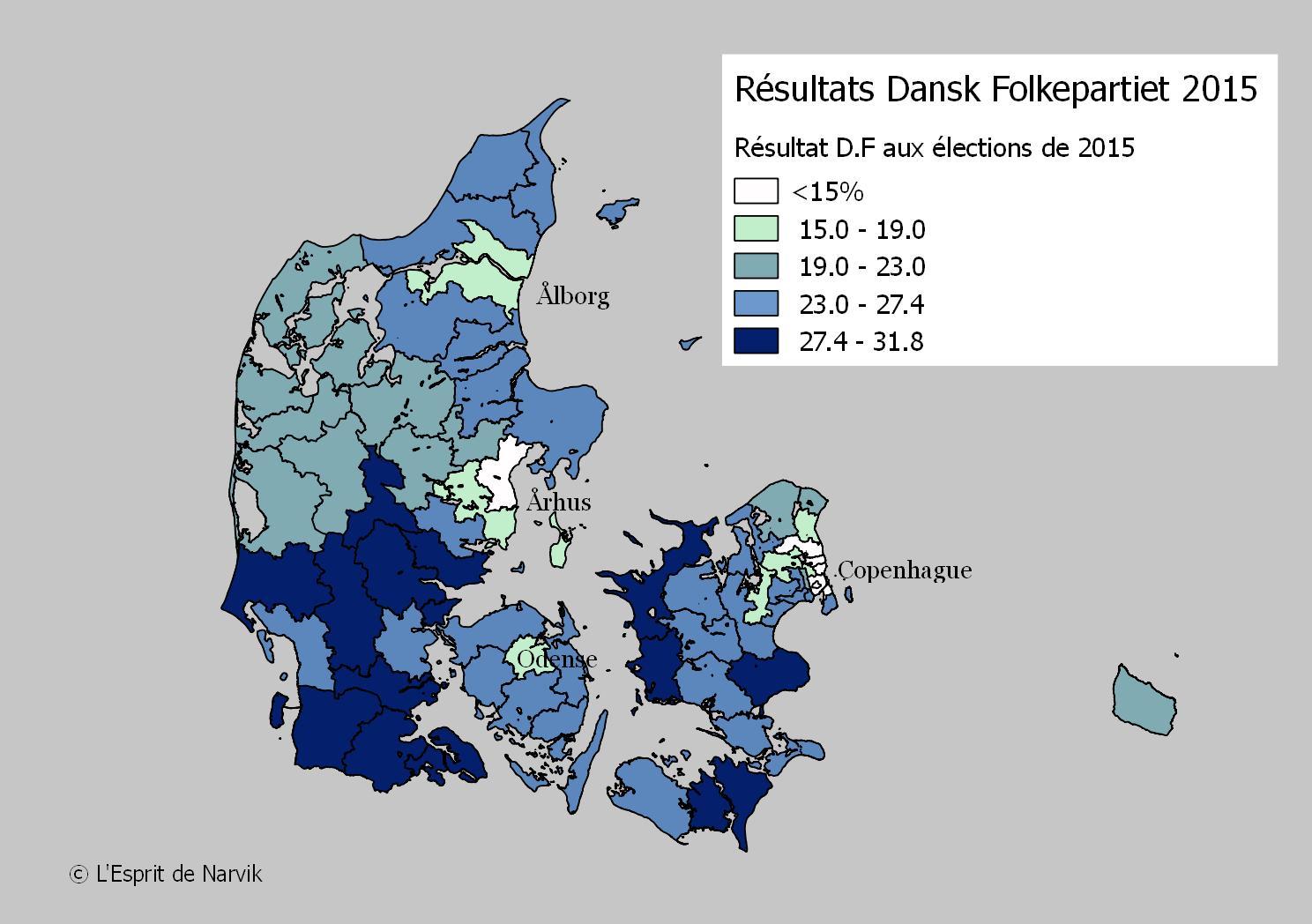 Les scores du Dansk Folkepartiet aux législatives de 2015