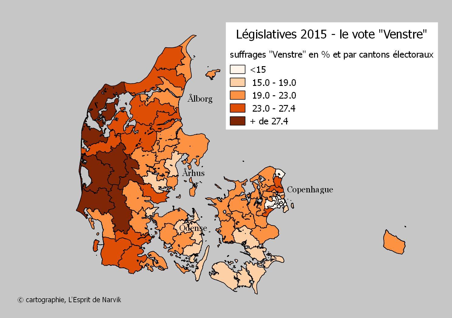 Quoiqu'encore bien implanté, le Venstre a subi une défaite relative en 2015.